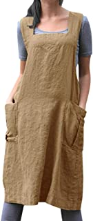 Suspender Cross Back Apron X-Shaped Japanese Apron Art Painting Aprons Casual Pinafore Dress with 2 Double Pockets Premium Soft Cotton Linen Apron for Women Daily Gardening Chores