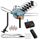 Five Star [Newest 2020] HDTV Antenna Amplified Digital Outdoor Antenna 150 Miles Range, 360 Degree Rotation Wireless Remote, with 40FT Coax Cable Installation Kit and Mounting Pole 5 TVs