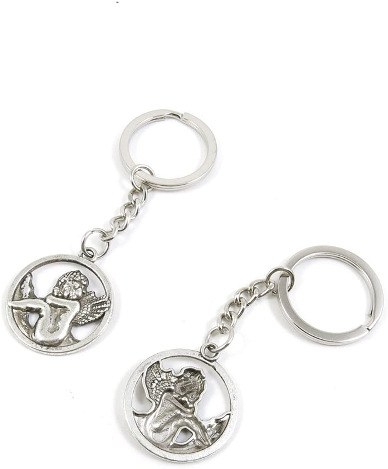 100 Pieces Keychain Keyring Door Car Key Chain Ring Tag Charms Bulk Supply Jewelry Making Clasp Findings H9HV5Z Angel Cupid
