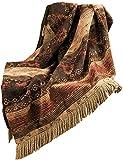 HiEnd Accents Sierra Chenille Throw Blanket, Full, Red, Brown & Tan