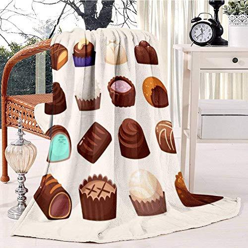 GOSMAO Mantas para Sofás Reversible de Franela/Sherpa Amplia Selección de Dulces de Chocolate,Manta para Cama de 100% Microfibra Extra-Manta de Felpa,153x204 cm