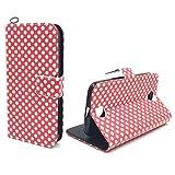 König Design Handyhülle Kompatibel mit Acer Liquid Z330 Handytasche Schutzhülle Tasche Flip Hülle mit Kreditkartenfächern - Polka Dot Weiße Punkte Rot