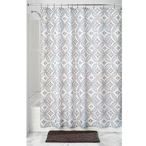 iDesign Vintage Tile Duschvorhang | Designer Duschvorhang aus Stoff mit Ösen | 183,0 cm x 183,0 cm groß mit schönem Muster | Polyester taupe/blau