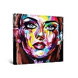 Startonight Cuadro Moderno en Lienzo - Eva Mujer Cara Pintada, Belleza en Tus Ojos - Pintura Abstracta Para Salon Decoración 80 x 80 cm