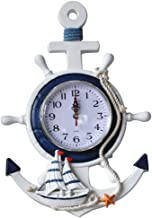 BESPORTBLE Anchor Clock Mediterranean Style Wall Clock Beach Sea Theme Nautical Ship Wheel Decor Wall Hanging Decoration