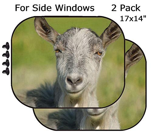 MSD Car Sun Shade - Side Window Sunshade Universal Fit 2 Pack - Block Sun Glare, UV and Heat for Baby and Pet - Smiling Goat Capra Animal Image 34749420 Customized Tablemats Stain Resistanc
