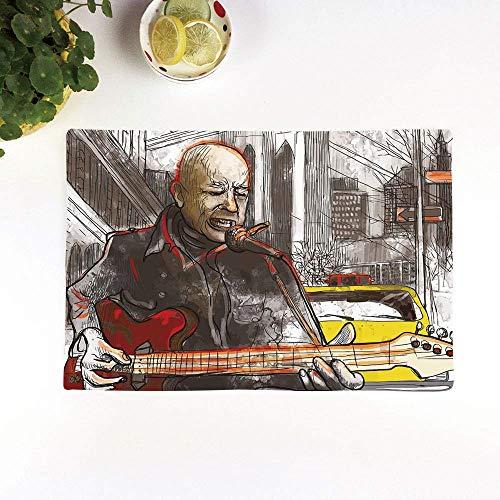 Set 4er Platzset rutschfest, Modern, Straßenmusiker Mann singt Gitarre spielen Show Perfo,Platzdeckchen Rutschfest Abwaschbar Tischmatten Abgrifffeste Hitzebeständig Tischsets, Platz-Matten für küche
