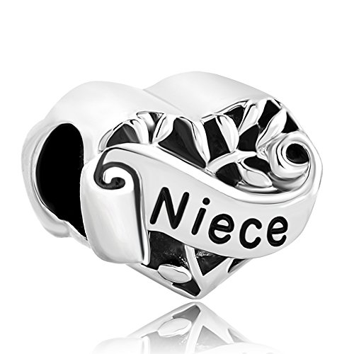 Sug Jasmin I Love You Heart Niece Charm Hollow Family Tree of Life Beads