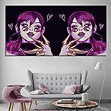 HUGF Pinturas en Lienzo Impresiones Cuadros modulares en Lienzo 1 Set Cool Girl Poster Pop Wall Artwork Study Decoración del hogar Pintura Abstracta