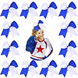 DEEKA 12PCS 8' Two Toned Large Cheer Hair Bows Ponytail Holder Handmade for Teen Girls Softball Cheerleader Sports-Royal Blue/White