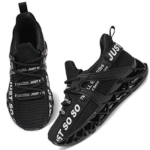 UMmaid Unisex-Kinder Turnschuhe Sportschuhe Hallenschuhe Leicht Atmungsaktiv Laufschuhe Sneaker für Jungen Mädchen,A3 schwarz,37