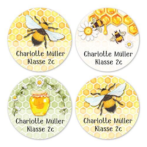 Papierdrachen 24 individuelle Aufkleber für Kinder - Motiv Bienen - personalisierte Sticker - Perfekt zur Einschulung - Geschenk für die Schule - Namensaufkleber und Schulbuchetiketten