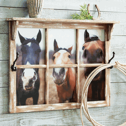 Nosey Horse Wall Shelf w/ Hooks