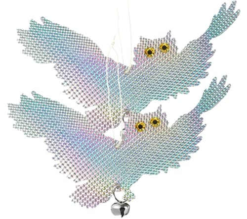 nanacole 鳩よけ (横 2個セット) 鳥よけ カラスよけ からす撃退 鳩撃退グッズ 鳥対策 スズメ撃退 鳩よけグッズ とりよけ 鳩対策グッズ からすよけ 防鳥ネット カラスよけネット 反射板 置物 庭の装飾 カラス専用退治器 防鳥防獣対策 鳥獣害用
