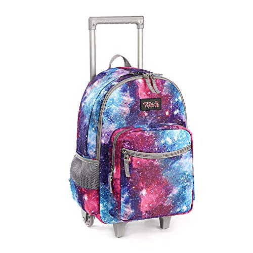 Rolling Backpack 18 inch Double Handle Wheeled Laptop Boys Girls Travel School Children Luggage Toddler Trip, Galaxy