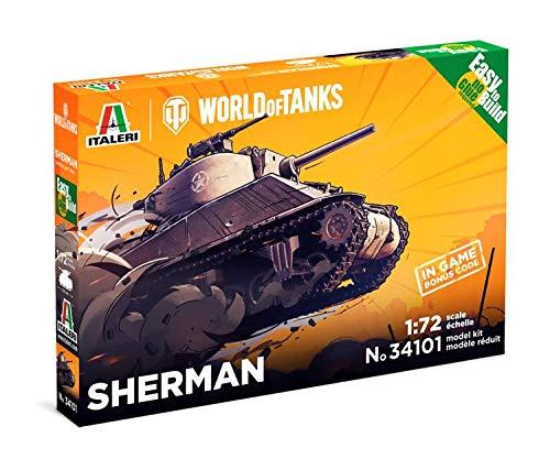 ITALERI 34101 - 1:72 Sherman WoT Fast Assembly Kit , Modellbau, Bausatz, Standmodellbau, Basteln, Hobby, Kleben, Plastikbausatz, detailgetreu