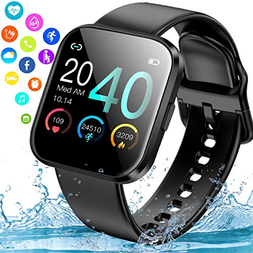 iFuntecky Smart Watch, Smartwatch for Android Phones,Waterproof Fitness Watch with Blood Pressure Heart Rate Monitor Activity Tracker with Pedometer Calorie Compatible for Samsung Women Men