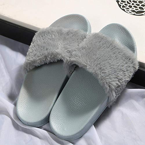 HUSHUI Antideslizantes Chanclas y Sandalias,Zapatillas Acolchadas de Suela Blanda, Zapatos de Piel de Primavera y otoño-Gris_36,Bañarse Chanclas de Casa Suave Zapatos