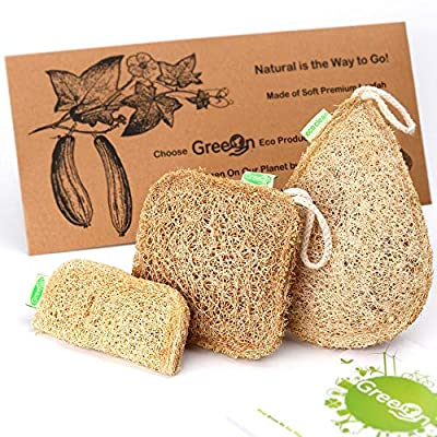 GreeOn Eco Kitchen Sponges (Natural Organic Cellulose, No Odor, Compostable), Reusable Non-Scratch Scouring Pads/Dish Cleaning Scrub Sponge, Fruit Vegetable Scrubber Aponge Brush, Set of 3 Sizes.