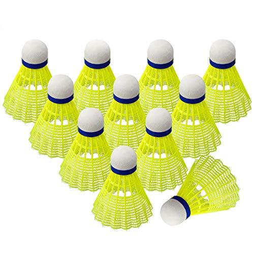 O-Kinee Badminton Federball,12 Stück Grün Federbälle,Premium Nylon Badminton Set,Speed-bälle mit Hoher Stabilität und Haltbarkeit Für Indoor&Outdoor Training, Unterhaltung Bewegung Badmintonbälle