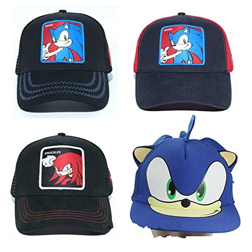 QIANMA Sonic Sombrero 4 Unids/Lote Ohmetoy Sonic The Hedgehog Knuckles The Echidna Toy Ajustable Sombrero Cosplay Baseball Cap Band Cumpleaños Regalo Track