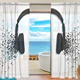 78 in curtain panel - senya Abstract Music Notes Sheer Curtains Voile Window Curtain Drape Panel 78 Inches Long for Living Room Bedroom 2 Panels