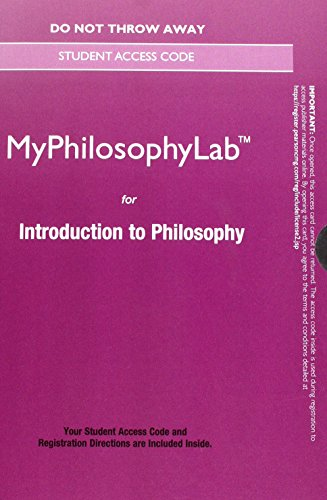 NEW MyLab Philosophy without Pearson eText -- Standalone Access Card -- for Introduction to Philosophy (New My Thinking