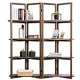 Modern Dark Brown Wood 4-Panel Open Bookcase Room Divider, 4 Tier Display Shelf Rack