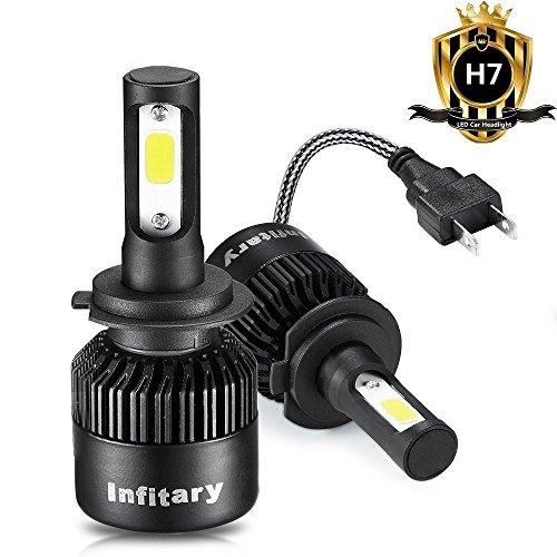 H4/H7 LED Bombillas para faros Infitary High Low Car Auto LED Kit de conversión Hi/Lo beam faro doble haz 72W 6500K 8000LM Extremadamente Super Bright COB Chips - 1 par - 1 año de garantía (H7 Negro)