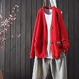 WJCRYPD suéter de Las señoras Otoño e Invierno Nueva Rebeca de la Manera del Color sólido con Cuello en V Manga Larga Mujeres suéter Flojo Mujer de Manga Larga de un Solo Pecho-Baggy Sweater Qf Shop