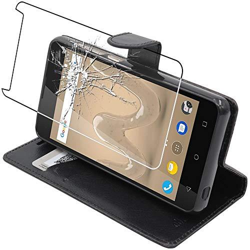 ebestStar - kompatibel mit Wiko Sunny 2 Plus Hülle Kunstleder Wallet Hülle Handyhülle [PU Leder], Kartenfächern, Standfunktion, Schwarz + Panzerglas Schutzfolie [Phone: 146.3 x 73.7 x 9.8mm, 5.0'']