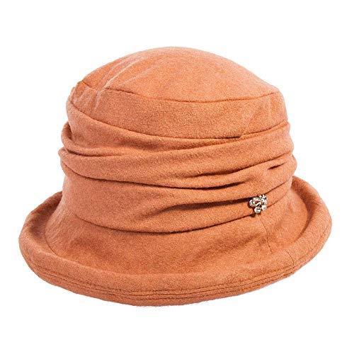Fancet Sombrero de lana para mujer, estilo vintage, de los años 20, para la iglesia, para mujer, aplastable y ajustable