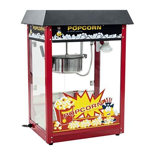 Royal Catering Machine à Popcorn Noir RCPS-16E (1.600W, rendement horaire 5 kg/h, 16 L/h, diamètre de la cuve en haut 18,5 cm, récipient téflon)