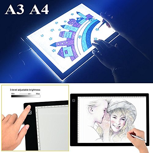 Preisvergleich Produktbild LED Grafiktablett Lightbox Touchpad Bleistift Skizze Animation für Kunst,  Kunsthandwerk ,  Design,  Zeichnung,  Schablonieren,  Tätowierung und Fotoarbeit (A4)