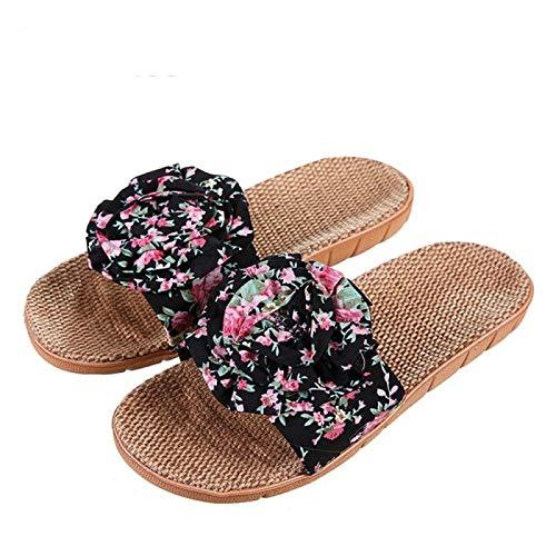 Zapatillas De Baño Caliente De La Venta del Verano De Interior Zapatos De Las Señoras De Casas De Cáñamo Sandalias Zapatos De La Flor Mujeres Hyococ (Color : Black, Size : 37)
