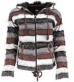 GURU SHOP Goa Patchwork Jacke mit Kapuze, Damen, Braun/grau, Baumwolle, Size:XL (42), Boho Jacken, Westen Alternative Bekleidung