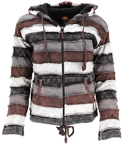GURU SHOP Goa Patchwork Jacke mit Kapuze, Damen, Braun/grau, Baumwolle, Size:L (40), Boho Jacken, Westen Alternative Bekleidung