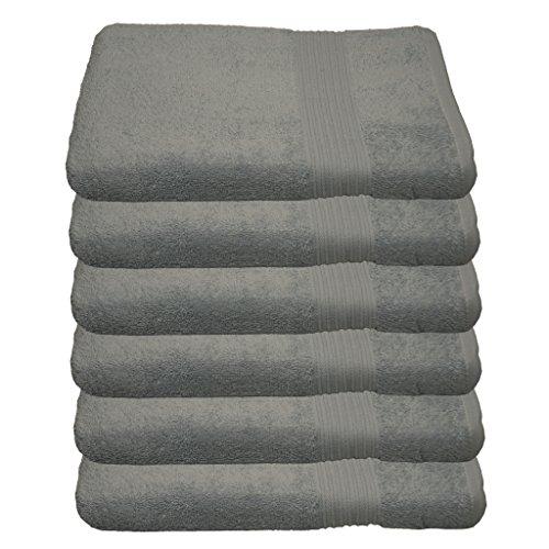 Julie Julsen Lot de 6 serviettes de toilette - 23 couleurs disponibles - Douces et absorbantes - 500 g/m² - Certifié Öko-Tex - 50 x 100 cm - Gris argenté