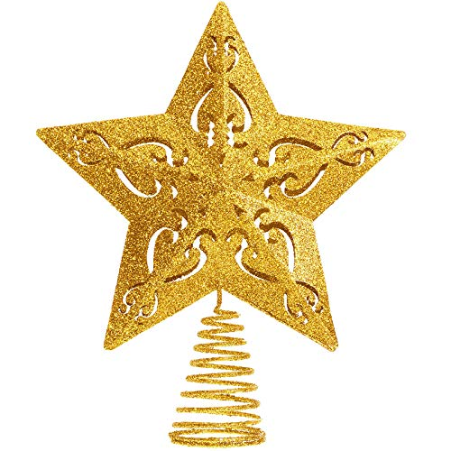 Aoriher 10 Inch Glittered Christmas Tree Topper Hollow Christmas Star Treetop for Christmas Ornaments and Holiday Seasonal Decor (Gold)