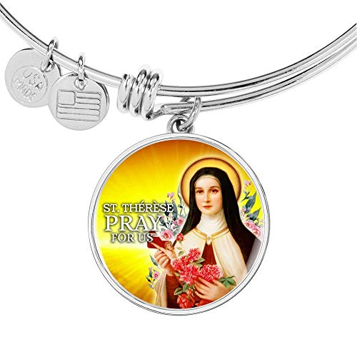Express Your Love Gifts Catholic St. Therese Circle Bangle - Pulsera de acero inoxidable y oro de 18 quilates
