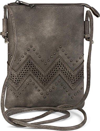styleBREAKER Mini Bag Umhängetasche mit Zick-Zack Cutout und Nieten, Schultertasche, Handtasche, Tasche, Damen 02012211, Farbe:Dunkelgrau