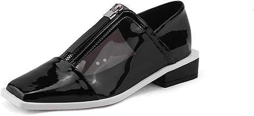 XLY Mocasines Casuales de Cuero Genuino con Punta Cuadrada para mujeres, Mocasines de conducción Hauszapatos sin Cordones y zapatos Planos,negro,38