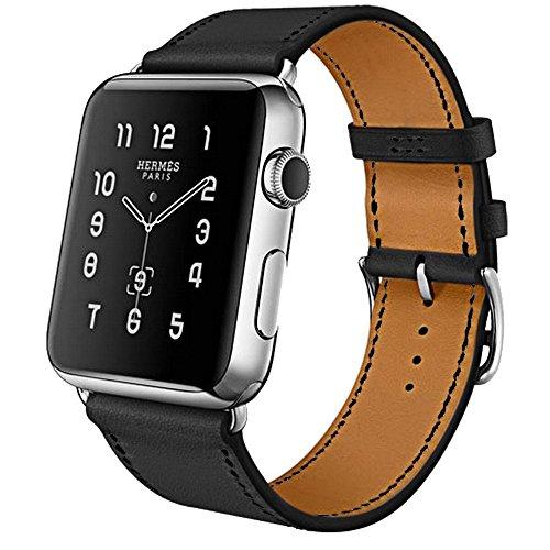 iBazal horlogebandjes compatibel met iWatch-serie 5 4 riem 44 mm lederen 42 mm serie 3 serie 2 serie 1 Pols horlogeband Polsbandjes Vervangende armbanden voor mannen met zilveren gesp - Zwart 42/44