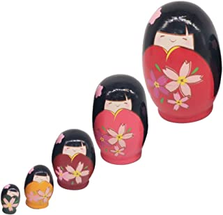 EXCEART 5 stuks Russische poppen om te nesten, kleurrijke Matrjoschka-pop, houten pop, speelgoed, cadeau, pop om te neste...