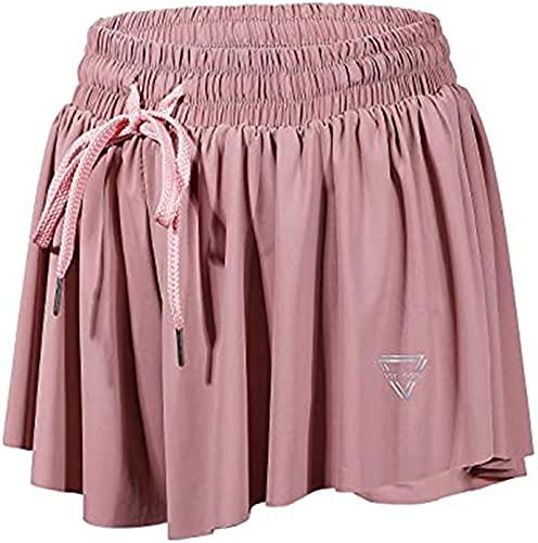 poxiao Keiki Kona Shorts Womens - 2 in 1 Flowy Fitness Yoga Shorts (Medium,Pink)