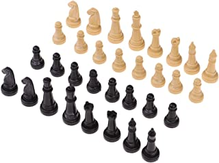 32pcs/Set 4.8cm Plastic Chess Pieces Only for Kid Board Games (Wooden/Black)