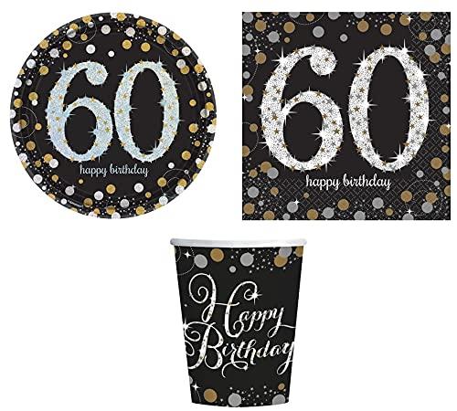 ILS I LOVE SHOPPING Kit Festa Coordinato Tavola Addobbi Party Set Compleanno con Piatti, Tovaglioli e Bicchieri (60 Anni, Set 8 Persone)