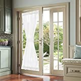jinchan French Door Curtains White 72 Inch Privacy Textured Rod Pocket Drapes for Living Room Tieback Casual Weave One Panel