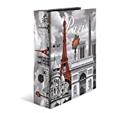 HERMA 7173 Motiv-Ordner DIN A4 Trendmetropolen Paris, 7 cm breit aus stabilem Karton mit Städte Innendruck, Ringordner, Aktenordner, Briefordner, 1 Ordner