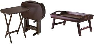Winsome Wood TV Tray Set & Wood Sedona Bed Tray, Antique Walnut